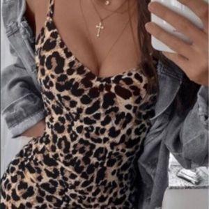 Sexy leopard print mini dress.